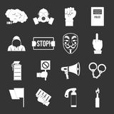 Protest icons set grey vector. Protest icons set vector white isolated on grey background Royalty Free Stock Photos