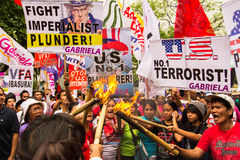 Protest during International Womens Day celebration, Manila, Philippines Royalty Free Stock Photo
