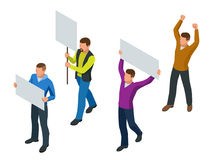 Protest Isometric People with placard and megaphones on demonstration. Demonstration, protest, strike concept. Protest Isometric People with placard and royalty free illustration