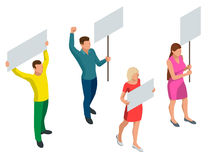Protest Isometric People with placard and megaphones on demonstration. Demonstration, protest, strike concept. Protest Isometric People with placard and stock illustration