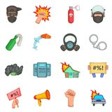 Protest items icons set, cartoon style Stock Photo
