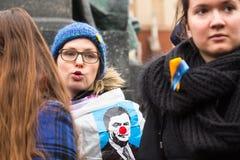 Protest on Krakow, in support of Ukraine Stock Photos