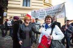 Protest on Krakow, in support of Ukraine Stock Photo