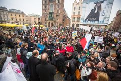 Protest on Krakow, in support of Ukraine Stock Images
