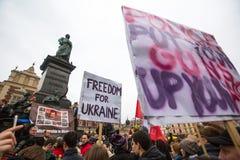 Protest on Krakow, in support of Ukrainein Stock Image