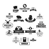 Protest logo icons set, simple style. Protest logo icons set. Simple illustration of 16 protest logo vector icons for web Stock Photos