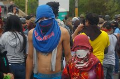 Protest Maart tegen Herverkiezing van Juan Orlando Hernandez Honduras 21 Januari 2018 15 royalty-vrije stock afbeeldingen