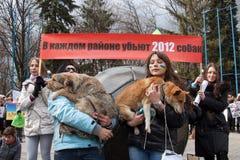 Protest maart tegen moord van dakloze dieren Stock Fotografie