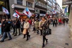 Protest Maart - Vigo, Spanje Stock Afbeeldingen