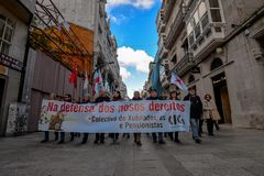 Protest Maart - Vigo, Spanje Stock Foto