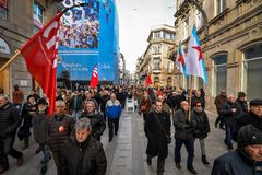 Protest Maart - Vigo, Spanje royalty-vrije stock foto's