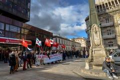 Protest Maart - Vigo, Spanje Stock Foto's