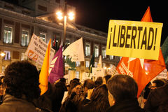 Protest in Madrid Royalty Free Stock Photo