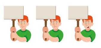 Protest man. Set flat cartoon characters white redhead man with different emotion people which keep a sign without slogan take part in protest for freedom rights Stock Images