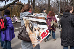 Protest march against murder of homeless animals Stock Images
