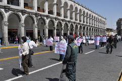 Protest march in Arequipa, Peru Royalty Free Stock Images