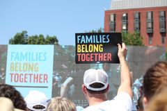 Protest March in DC. Thousands took to the streets of Washington, DC for the Families Belong Together March to protest the separation of families at the border royalty free stock images