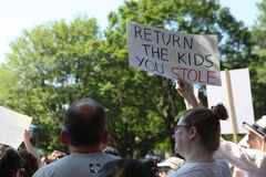 Protest March in DC. Thousands took to the streets of Washington, DC for the Families Belong Together March to protest the separation of families at the border Stock Photo