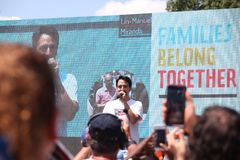 Protest March in DC. Thousands took to the streets of Washington, DC for the Families Belong Together March to protest the separation of families at the border Stock Images