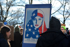 Protest march. People taking part in the protest march against new immigration laws at Battery Park in New York City Royalty Free Stock Image