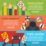Protest meeting banner horizontal set, flat style Royalty Free Stock Photo