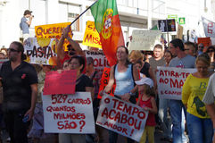 Protest mot austerity - Loule Arkivfoto