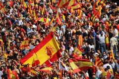 Protest mot Catalan självständighet royaltyfria foton
