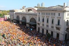 Protest mot Catalan självständighet Royaltyfri Bild