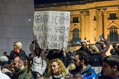 Protest mot coruption och rumänsk regering Arkivbild