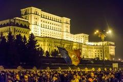 Protest mot coruption och rumänsk regering Royaltyfri Bild