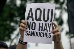 Protest mot den Ecuador regeringen Arkivbilder