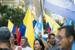 Protest mot den Ecuador regeringen Fotografering för Bildbyråer