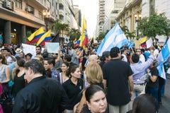 Protest mot den Ecuador regeringen Royaltyfria Bilder