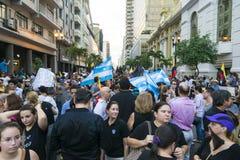 Protest mot den Ecuador regeringen Arkivbild