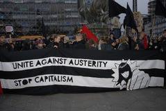 PROTEST MOT FINANSIELL POLITIK FÖR EDUATION royaltyfri foto