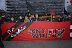 PROTEST MOT FINANSIELL POLITIK FÖR EDUATION arkivfoto