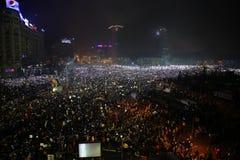 Protest mot korruption och rumänsk regering Royaltyfria Foton
