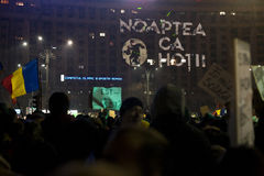Protest mot korruptionreformer i Bucharest Royaltyfri Foto