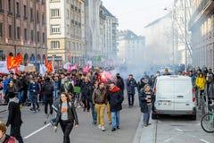 Protest mot Labour reformer i Frankrike Arkivbild