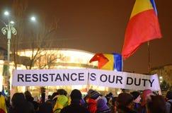 Protest mot regeringen i Bucharest Royaltyfri Bild