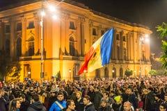 Protest mot rumänsk regering Royaltyfria Foton