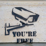 Protest mot video bevakning Arkivbild