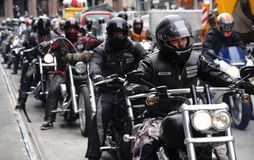 Protest of motorcycle clubs. Oslo. Protest of motorcycle clubs MC. September 14, 2013. Oslo. Norway. Motorcycle brotherhood clubs Bandidos, Bootleggers Royalty Free Stock Image