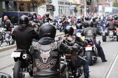 Protest of motorcycle clubs. Oslo. Protest of motorcycle clubs MC. September 14, 2013. Oslo. Norway. Motorcycle brotherhood clubs Bandidos, Bootleggers Royalty Free Stock Photos