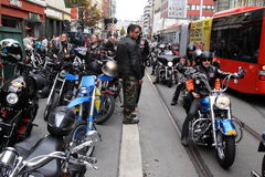 Protest of motorcycle clubs. Oslo. Protest of motorcycle clubs MC. September 14, 2013. Oslo. Norway. Motorcycle brotherhood clubs Bandidos, Bootleggers Royalty Free Stock Photography