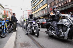 Protest of motorcycle clubs. Oslo. Protest of motorcycle clubs MC. September 14, 2013. Oslo. Norway. Motorcycle brotherhood clubs Bandidos, Bootleggers Stock Photography