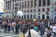 Protest nauczyciele przeciw ubezpieczenie społeczne reformie sao Paulo brazylijskie Fotografia Stock