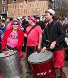 Protest op Britse LibDem Conferentie; slaap? Stock Foto