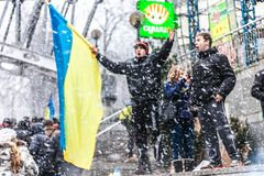 Protest op Euromaydan in Kiev tegen de voorzitter Yanukovych Stock Fotografie