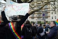 Protest outside the Dorchester Hotel London April 6th 2019 royalty free stock image